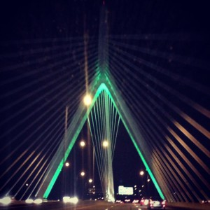 Bridge lit up green
