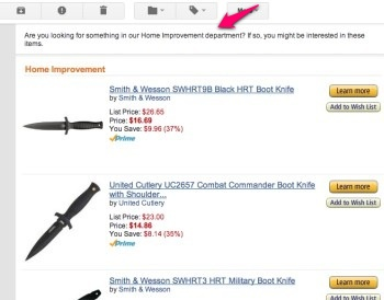 Amazon recommends home improvement products, which are all combat knives
