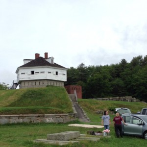 Setting up camp below Fort McClary