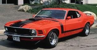 1970 Mustang in orange with black stripes