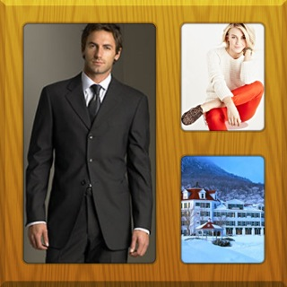 Collage with hot guy in a suit, a pretty blonde and a grand hotel