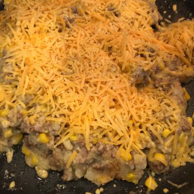 Obscene amounts of shredded cheddar melting on the food