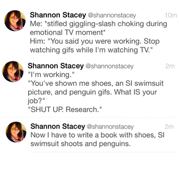Twitter convo about shoes and penguin gifs