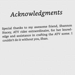 Acknowledgment page, thanking me for ATV advice.