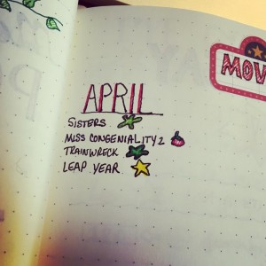 Photo of my movie log, described in text