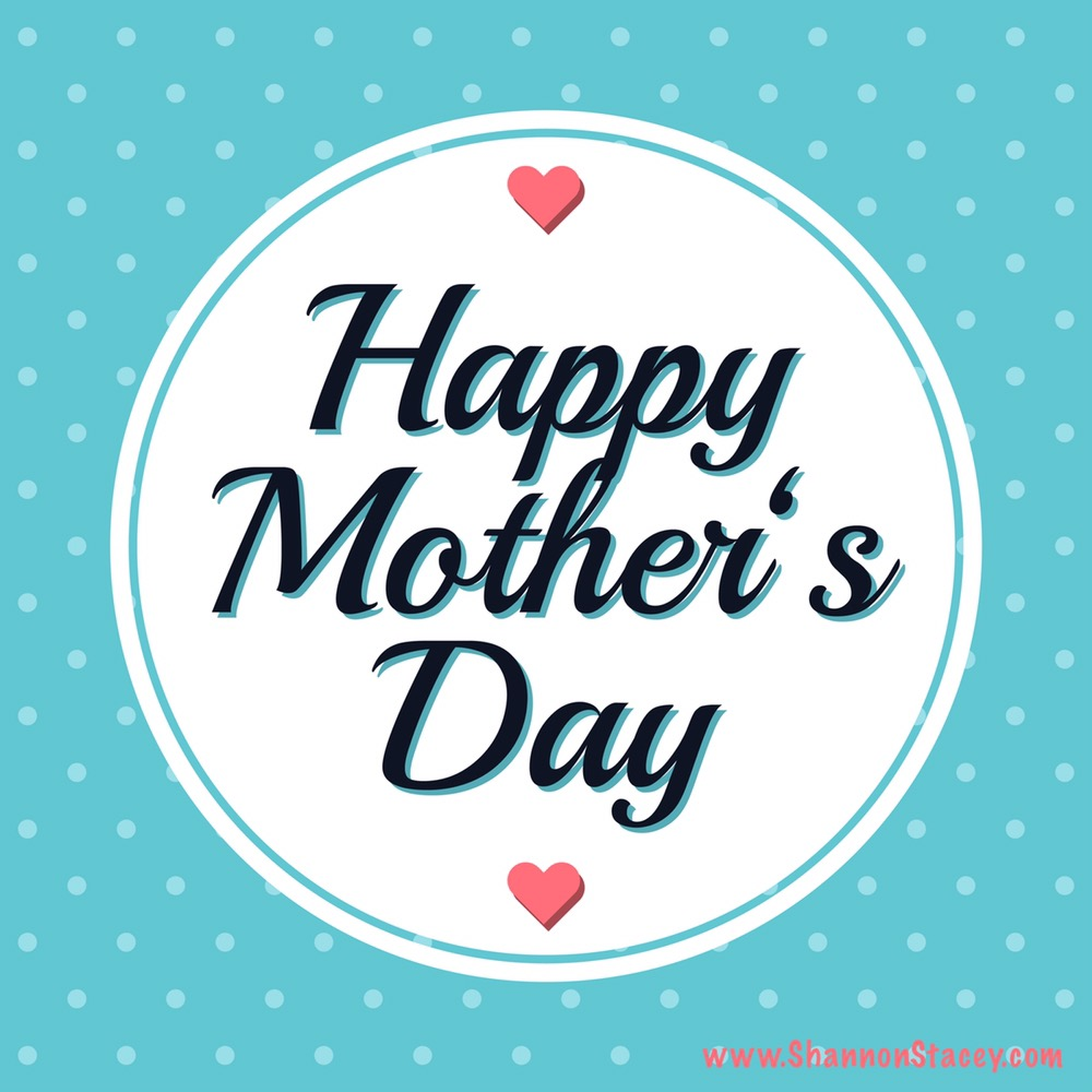 Happy Mother's Day in cursive with pink hearts