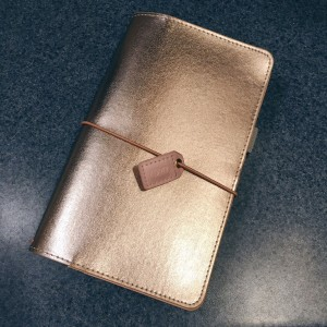 Picture of the shiny pink-gold traveler's notebook