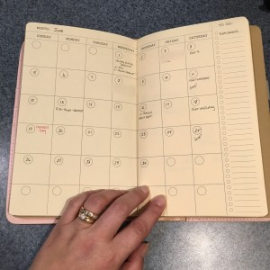 picture of monthly calendar page