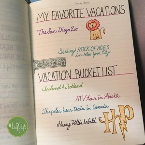 My favorite vacations & bucket list, written out below
