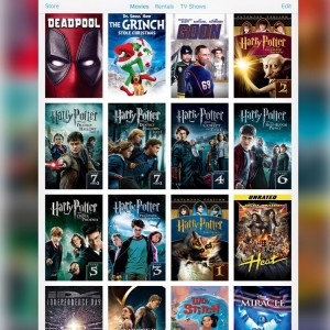 Screenshot of iTunes library on iPad, with Harry Potter movies in alphabetical order