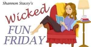 Banner showing a cartoon woman sitting sideways in an easy chair reading a book for Wicked Fun Friday