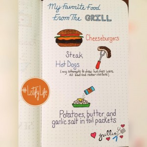 Favorite foods from the grill, listed below in text