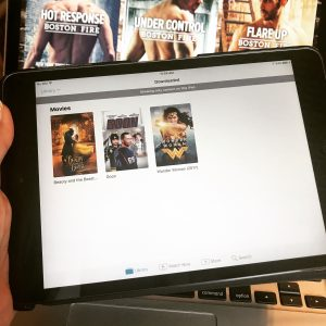 iPad Mini screen displaying covers for the live action Beauty and the Beast, Goon, and the new Wonder Woman